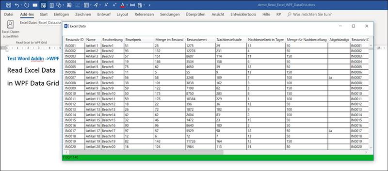 👁 🗨 Word Addin: Load Excel file into WPF DataGrid