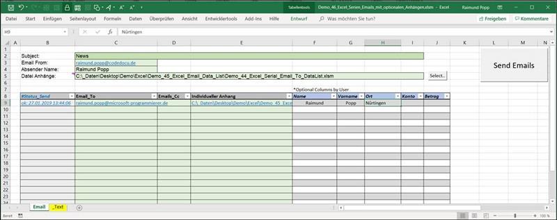 Vba Code Zum Seienmässigen Versenden Von Emails Aus Excel