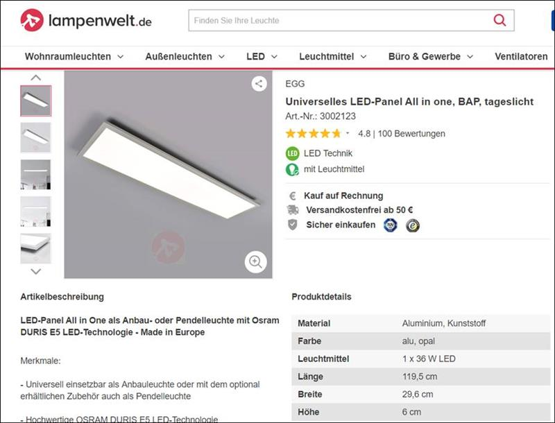 👁 🗨 LED Panel für die Küche