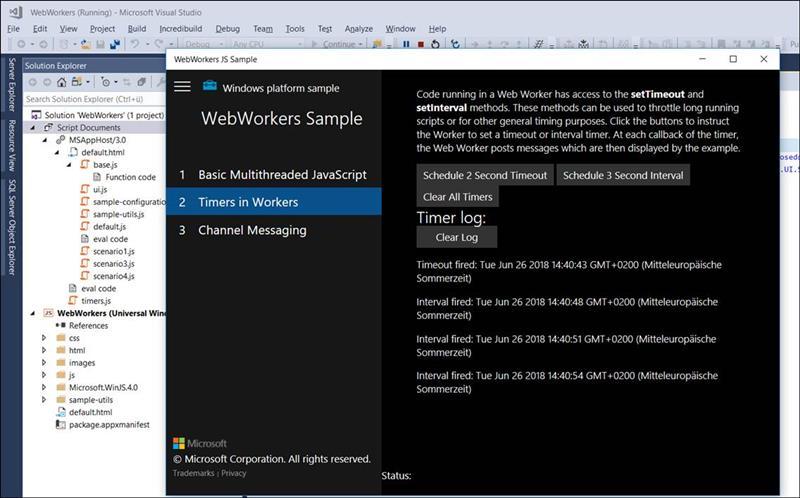 👁 🗨 UWP Sample: Webworkers