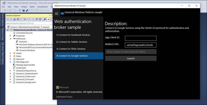 👁 🗨 UWP example: App with OAuth login