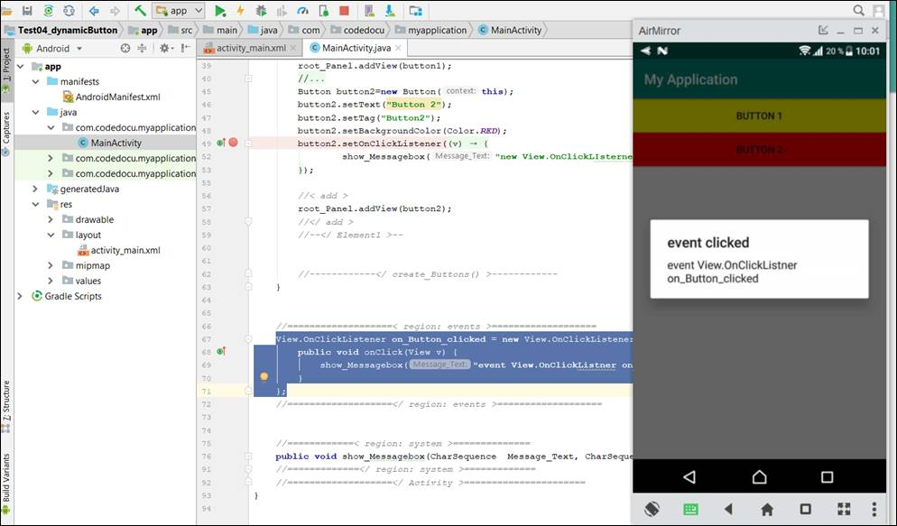 👁 🗨 Android Java: Create a view event at runtime and assign it to