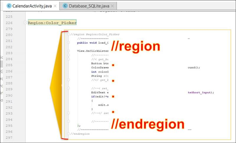 👁 🗨 Android java: Code area // region - // endregion