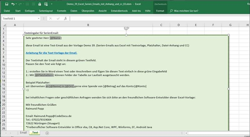 👁 🗨 Send serial emails with Excel