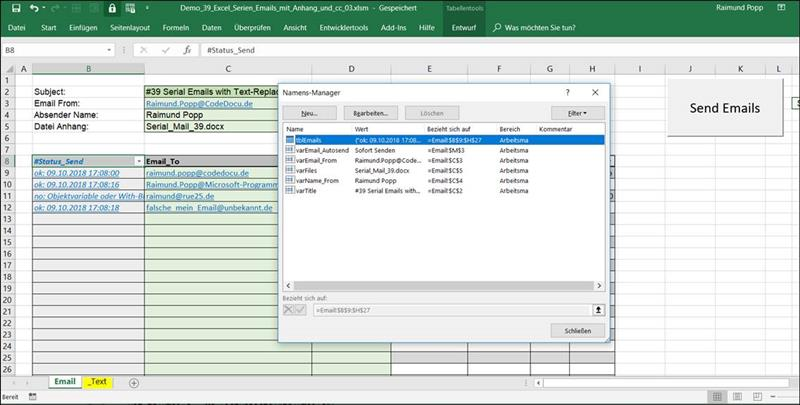Send Serial Emails With Excel